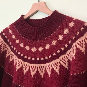 Lands End 100% Wool Chunky Knit Red Sweater